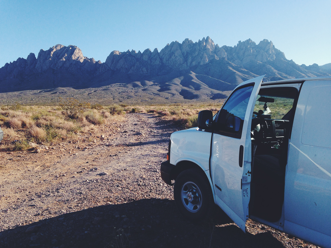 van and mountains